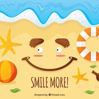 Fond de plage avec un visage souriant