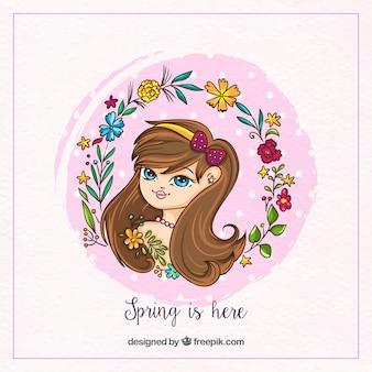 Fond de printemps avec une couronne de fille et de fleurs