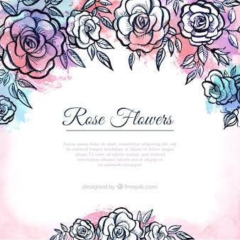 Fond de roses dessinés à la main
