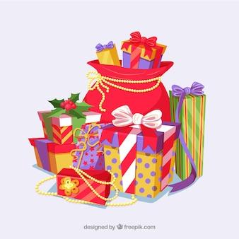 Fond de sac avec des cadeaux de Noël