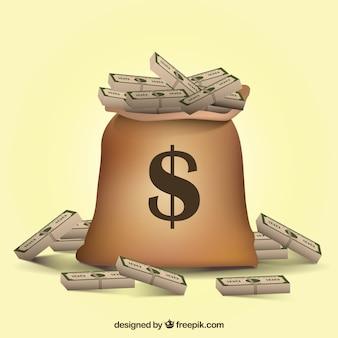 Fond de sac avec des factures