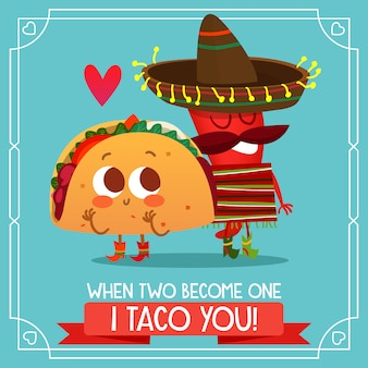 Fond de taco mexicain avec citation amoureuse