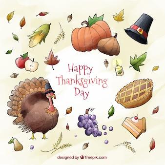 Fond de Turquie avec des éléments d'aquarelle de thanksgiving