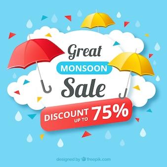 Fond de vente avec parapluie de signe