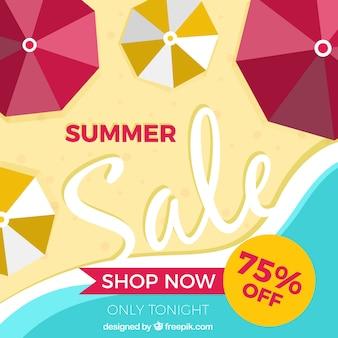 Fond de vente d'été avec des parapluies