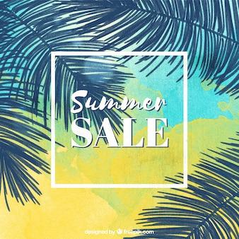 Fond de vente d'été avec feuilles de palmier