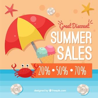 Fond de vente d'été avec parapluie et crabe