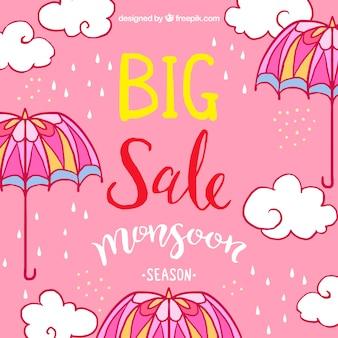 Fond de vente rose avec des parapluies et des nuages dessinés à la main
