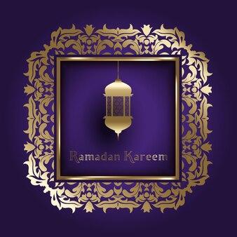 Fond décoratif pour le Ramadan avec cadre doré