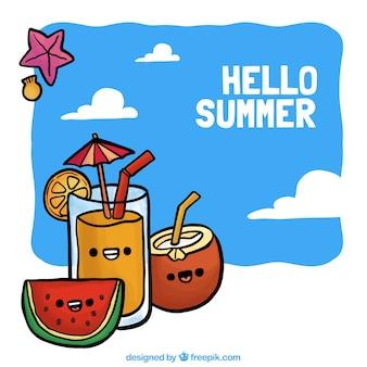Fond dessiné à la main avec des boissons d'été