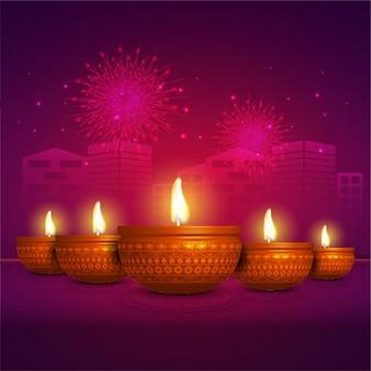 Fond Diwali avec des bougies allumées et des silhouettes de construction