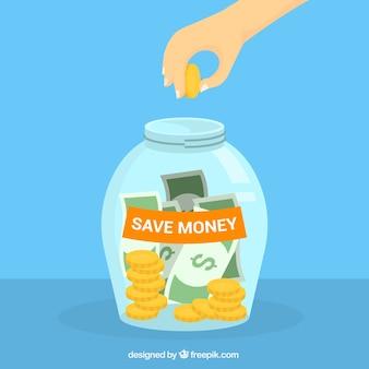 Fond en pot de verre avec de l'argent