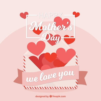 Fond enveloppe avec des coeurs pour la fête des mères