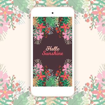 Fond floral mobile vintage