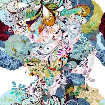 Fond floral multicolore