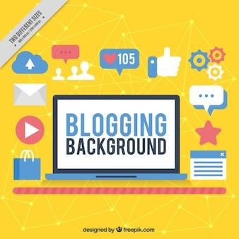 Fond jaune de blogs avec des icônes