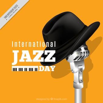 Fond jaune de jazz avec microphone et chapeau