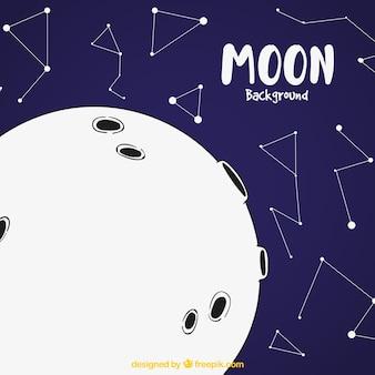 Fond Lune avec des constellations