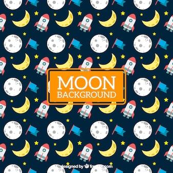 Fond Lune avec la fusée et le drapeau