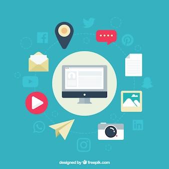 Fond médias sociaux avec des éléments décoratifs en design plat