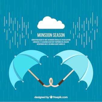 Fond météo avec des parapluies