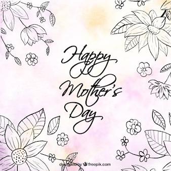 Fond mignon avec des fleurs et des détails de couleur pour le jour de la mère