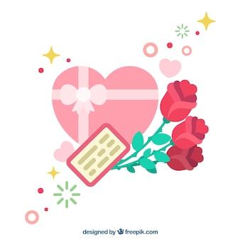Fond mignon avec des roses et une boîte en forme de coeur