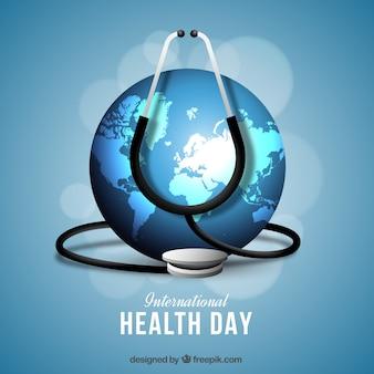 Fond mondial de jour de santé avec un stéthoscope