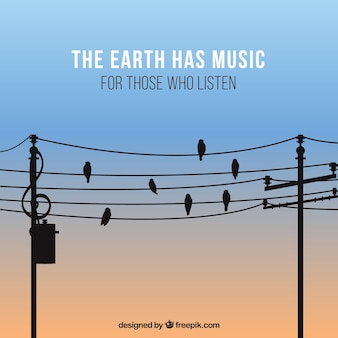 Fond musical impressionnant avec des oiseaux
