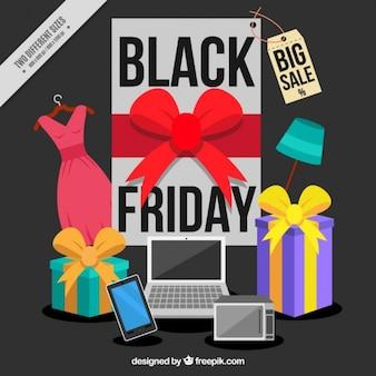 Fond noir vendredi avec des appareils électroniques et des cadeaux