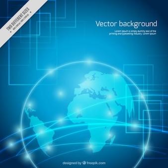 Fond numérique avec carte du monde et des points brillants