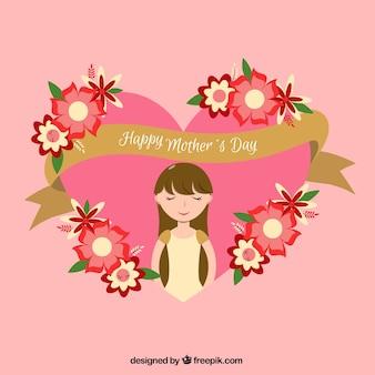 Fond plat avec ruban doré et fleurs prêt pour la fête des mères