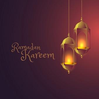 fond ramadan avec des lampes suspendues