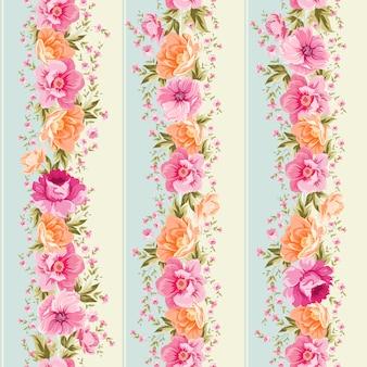 Fond rayé avec des fleurs mignonnes