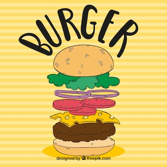 Fond rayé avec hamburger à la main