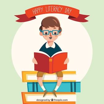Fond rétro d'un garçon lisant un livre