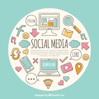Fond rond avec des éléments de médias sociaux