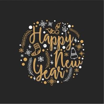 Fond rond avec des éléments dessinés à la main pour la nouvelle année