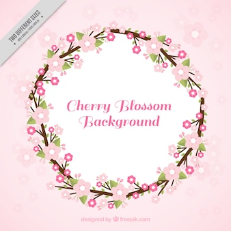 Fond rose avec couronne de fleurs