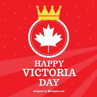 Fond rouge de joyeux jour de Victoria avec couronne et feuille