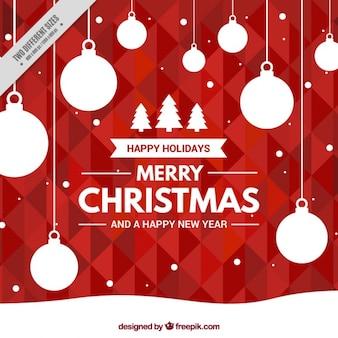 Fond rouge géométrique avec des boules de Noël