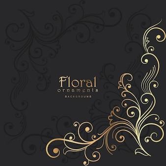 Fond sombre avec un élément floral d'or