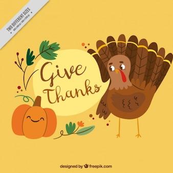 Fond Thanksgiving avec une belle dinde et une citrouille