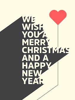 Fond typographique de Noël / Joyeux Noël et bonne année