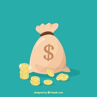 Fond vert de sac avec symbole dollar et pièces de monnaie