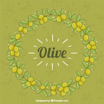 Fond vert mignon avec des olives