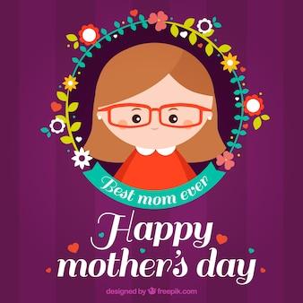 Fond violet avec des fleurs et une femme pour la fête des mères