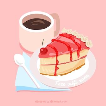 Fond wifi gratuit avec morceau de gâteau et de café