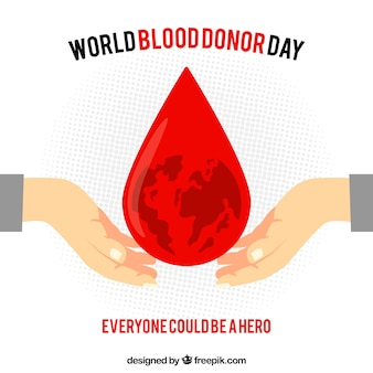 Fondation mondiale du donneur de sang avec une grosse goutte de sang au milieu