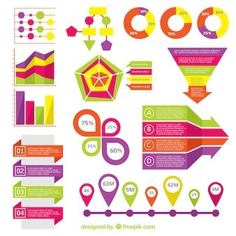 Forfait fantastique d'éléments colorés pour infographies
